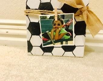 Soccer wood  block frame , photo block