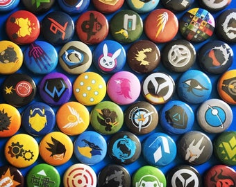 "OVERWATCH Pins Hero Player Icons - 1"" Pin Badge Pinback Button - {YOU CHOOSE} - [ 1 Year Anniversary Icons & Cute Spray Icons Available ]"