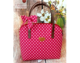 "Handle bag - DOTTI - cotton ""dots"" - raspberry/cream"