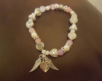 Angel wing 'Made with Love' heart bracelet - Small