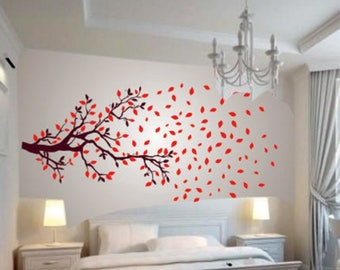 Wall Decal 'Lovely Autumn Tree' Wall Sticker (PVC Vinyl, 60 cm x 90 cm) Wall Murals Decals Wall Designs Bedroom Decals