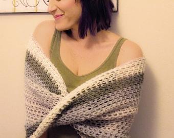 Handcrafted Summer Wrap Shawl Afghan Sweater Crochet Crocheted Open Weave Light Weight Green Grey Cream