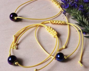 Knitted bracelet yellow cord rope natural stone hematite blue purple color