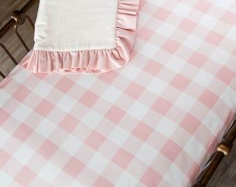 Pink Buffalo Check Crib Sheet