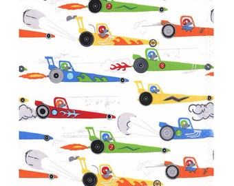 Michael Miller Traffic Jam Rat Race Redux Rats in Dragsters Blue & White Cotton Fabric