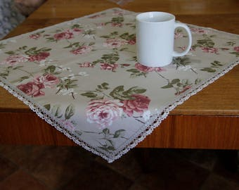 Tablecloth PINK ROSE   Small Tablecloth   Tablecloth With Lace VINTAGE    Hand Made   Housewarming
