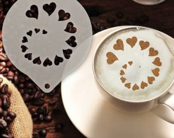 Hearts Spiral Coffee Stencil