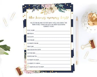 Who Knows Mommy Best Game, Navy and Floral Baby Shower Games Printable, Instant Download Baby Shower Game Cards, DIY Baby Sprinkle Game, GF1