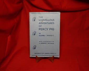 The Marvelous Adventures of Percy Pig, Rodney Bennett, Vintage Antique 1930's Children's Story Book