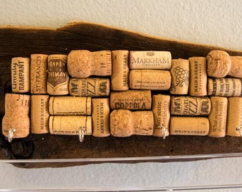 Driftwood cork board with hooks