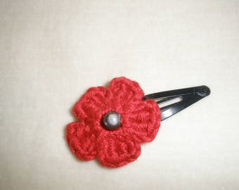Red crochet flower hair clip