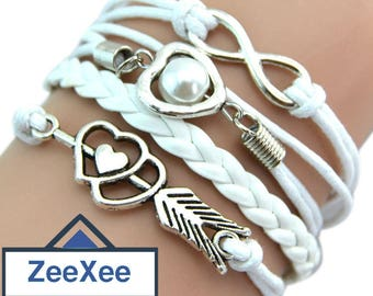 Multilayer Braided Bracelet With Heart & Infinity Shape Decorations