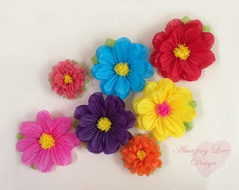 Mexican Hawaiian tissue paper flowers party decorations  rainbow flowers 14 inches