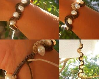 Macrame Bracelet With Freshwater Pearls