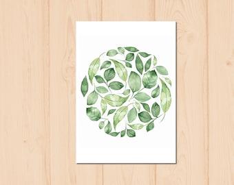 Leaves Watercolour Painting Drawing Art Print N14