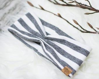 Ruffled baby headband grey stripes *.