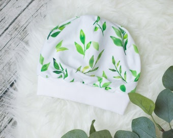 Baby Beanie Hat * green leaves *.