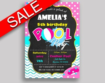 Pool Party Birthday Invitation Pool Party Birthday Party Invitation Pool Party Birthday Party Pool Party Invitation Girl chalkboard KDN9K