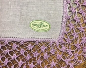 Vintage Lavendar Irish Linen Hand Tatted Handkerchief