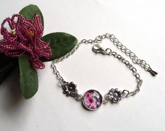 Floral pink and all silver bracelet - gift idea for woman