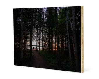 Romantic woods landscape wall art, printed on bamboo panel