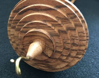 Zebrano (Zebrawood) and Oak Drop Spindle