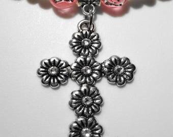 Pink Rosary Beaded Bracelet