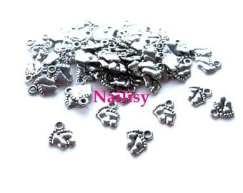 50 REF269 silver baby feet charms