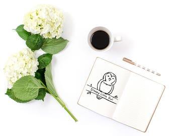 Hand Drawn Premade Logo - One of a Kind OOAK - Cute, Feminine, Animal, Bird, Sleepy Owl Design