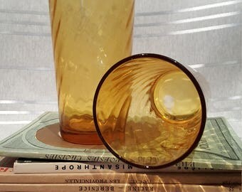 Vintage Amber Honey Glass Drinking Tumbler Glasses Swirl Pattern set of 3