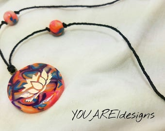 Handmade Lotus Colorful Pendant Necklace
