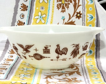 Vintage Pyrex Medium Handled Bowl American Heritage