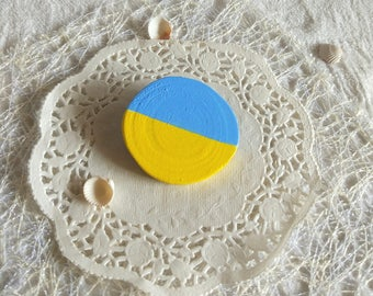 Handpainted Yellow blue Geometric wood brooch artisan colorful handmade wooden jewelry cheerful color badge wood pin birthday gift up 15