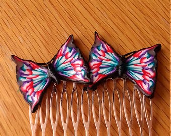 Butterfly Hair Comb, Butterfly Comb, Polymer Clay Hair Comb, Handmade Hair Comb, Wedding Hair comb