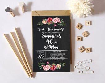 40th birthday invitation digital 40th birthday invitation hunting 40th birthday invitation rustic 40th birthday invitation printable 40th