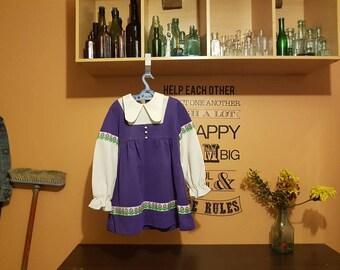 Vintage/girls/prairie/winter/Irish/dancer/frock/purple/1960/70s