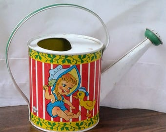 Ohio Art Tin Litho Watering Can Sprinkler Can