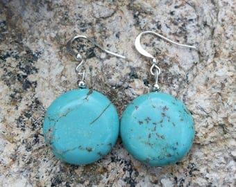 Round turquoise magnesite earrings