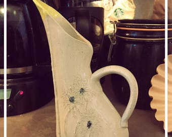 Unique Pitcher / Creamer, wish flowers, coffee, handmade, gift item, yellow, white, one of a kind, dishwasher safe