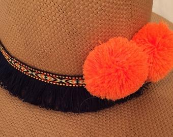 Boho summer hat with blue ribbon and orange neon pom pom