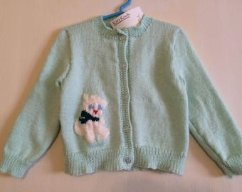 3 toddler girl's handmade delicate green knit sweater with kitty detail