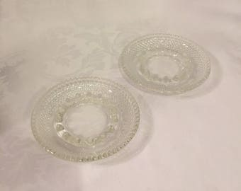Set of 2 Vintage clear glass ashtrays
