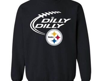 DILLY DILLY Pittsburgh Steelers Logo tshirt Crewneck Pullover Sweatshirt 8oz