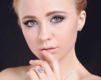 Elegant Silver Plated Wedding Ring, High Quality, High Clarity