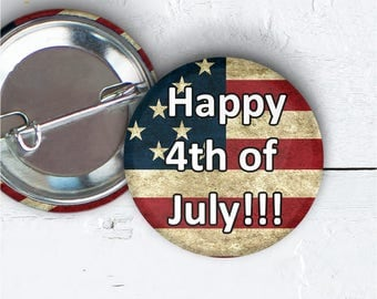 """4th Of July Button, 1.5"""" Pin-back Button, Independence Pin, Freedom Badge, Stars and Stripes Button, Party Favor, 4th Of July Flair, 012"""