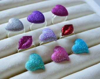 Kawaii Adjustable Rings * Love Hearts Lips Glitter Valentines Cute Princess Quirky