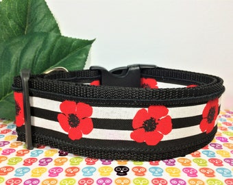 """Large Dog Collar Red Flowers Black and White Stripe 2"""" Wide Dog Collar Handmade"""