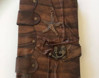 Brown Calf Wrinkled Leather Large Journal Sketchbook Notebook Diary Hand Made Starfish Pendant