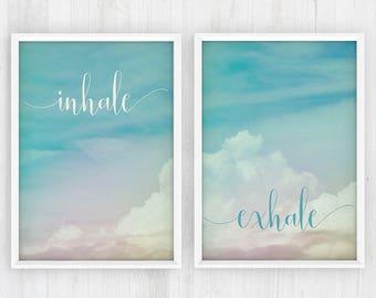 inhale exhale, yoga wall art, yoga wall print, inhale exhale print, yoga print art, inhale, exhale, yoga artwork posters, pilates art