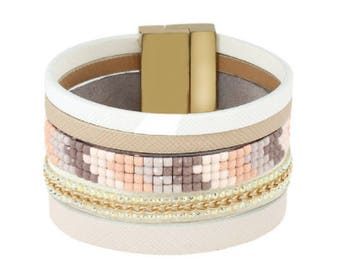 Multi-Layer Magnetic Leather/Beaded Bracelet